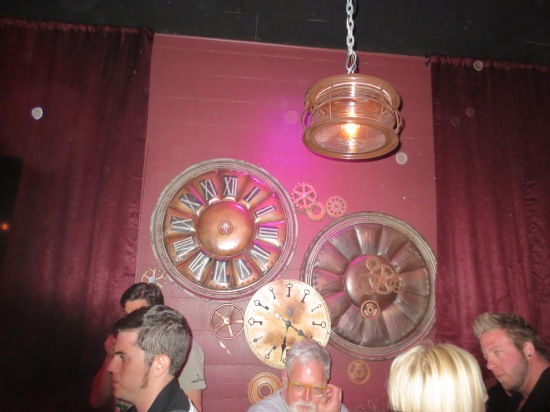 Gear clocks at Metal & Lace (steampunk bar)