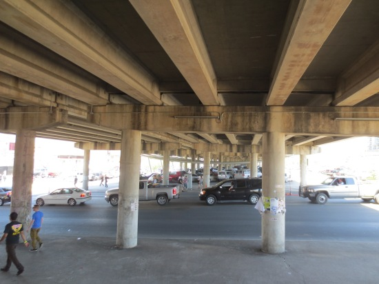 Under the highway bridge at 6th Street