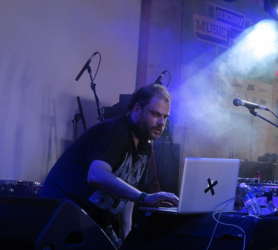 JD Twitch wearing a 1000 Homo DJs shirt & dropping Jeff Mills, Donna Summer and Slayer into a DJ set @ Latitude 30 around 3PM