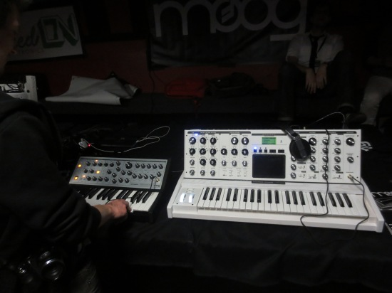 Zac and me monkeying aroung with more Moogs @ Elysium