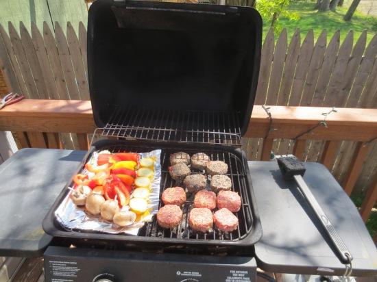 Grilling veggies and veggie burgers