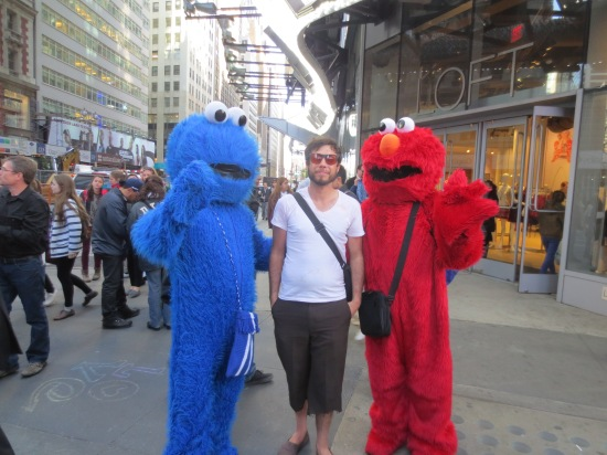 Eric and some lifesize Muppets at Times Square