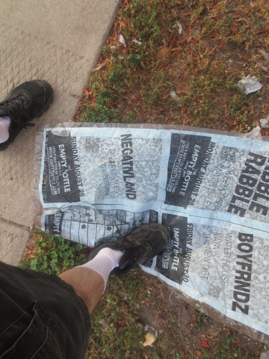 I found a show poster on the ground that fell off something, so I took it