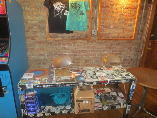 unmanned merch table