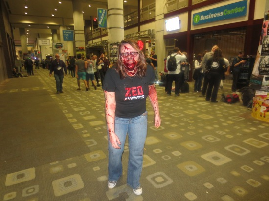 Zombie in the convention center lobby