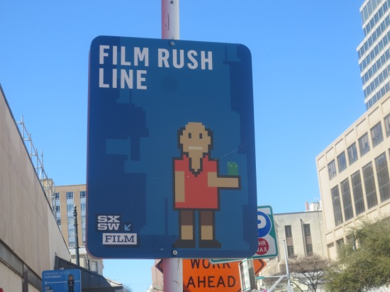 Rush Line sign (for those who don't have badges or wristbands)