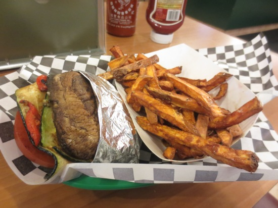 Portobello burger + sweet potato fries @ Wholly Cow