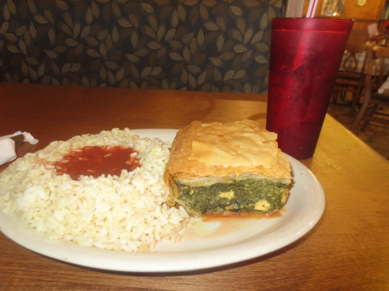 spinach pie & rice pilaf @ Niki's