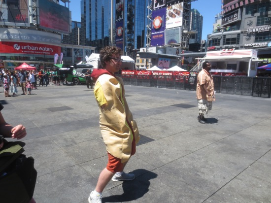 Non-James dancing in the WCBN hot dog suit
