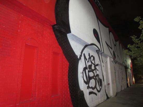Graffiti on Woodward Ave. side of MOCAD