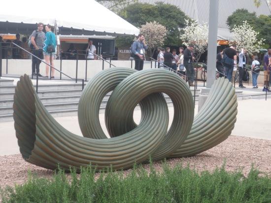 horn speaker sculpture outside Topfer Theatre