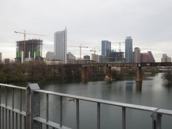 looking at Austin from a bridge just south of downtown
