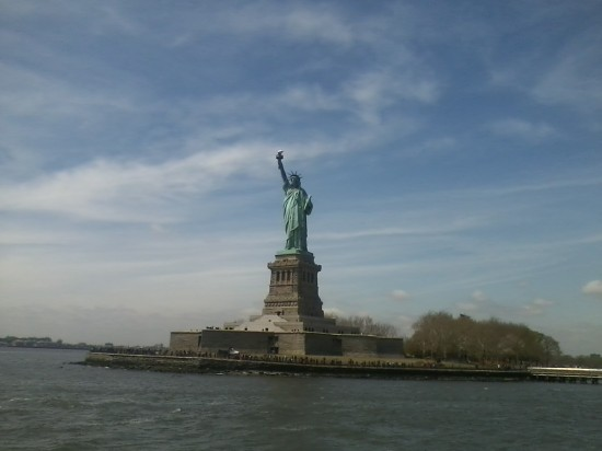 sailing towards the Statue of Liberty
