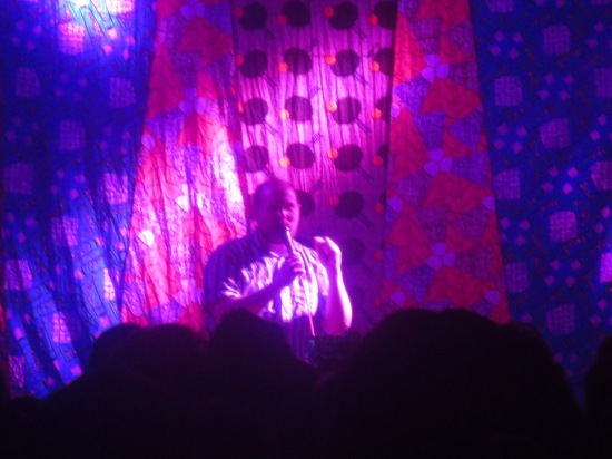 Dan Deacon giving a long, hilarious monologue before his set