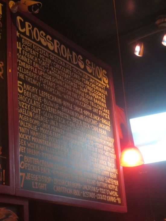 Crossroads shot menu