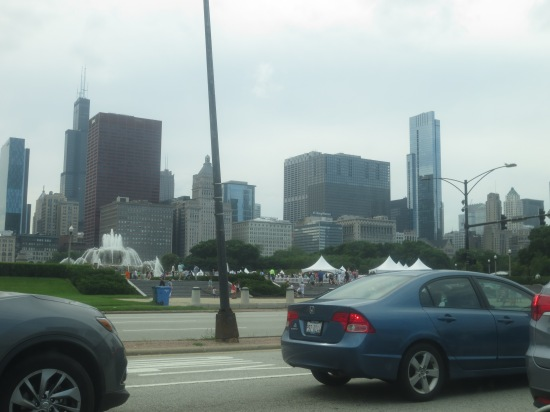 driving into Chicago