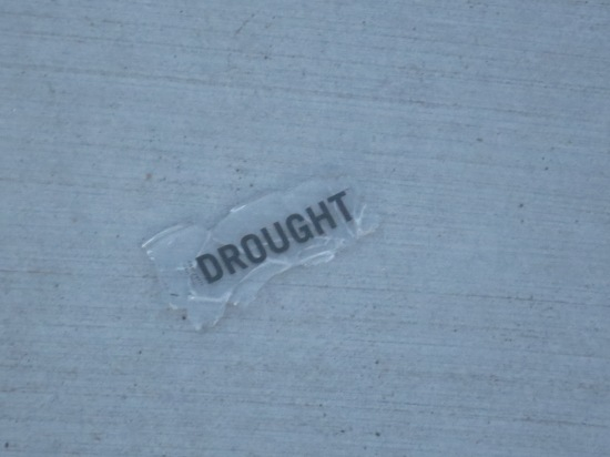 a single word on the sidewalk