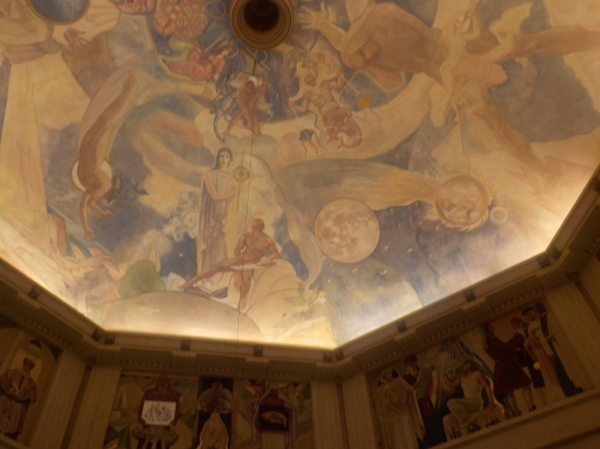 ceiling art inside the observatory
