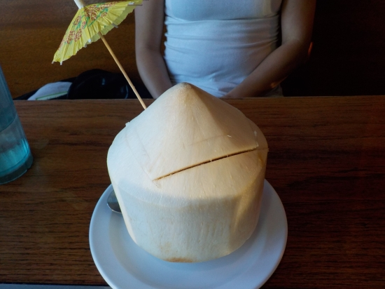 my cousin ordered a coconut at a Thai restaurant